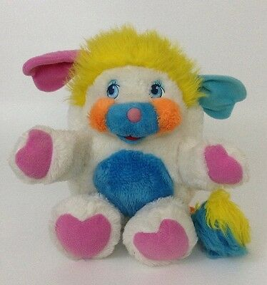 "Vintage 1985 PUFFBALL Popples 12"" Stuffed Plush 80's Toy Mattel White Pink Blue"
