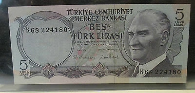 Turkey Bes Lirasi (Five 5 Lira) 1976 (P185) K- Serial - UNC