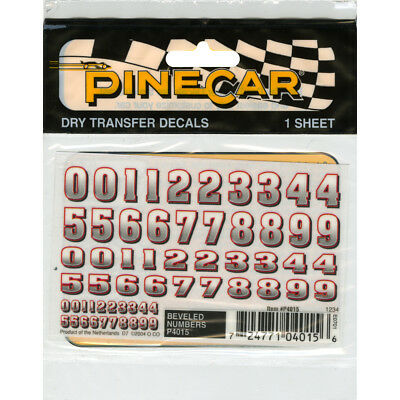 """Pine Car Derby Dry Transfer Decal 3""""X2.5"""" Sheet Bevelled Numbers P4015"""