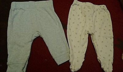 2 x pairs of boys trousers size 0-3 months