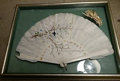 19th C. Early Antique Japanese Hand Painted Fan Artwork Exquisite Asian Art RARE