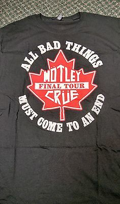 Motley Crue Shirt. Final Tour in Canada Collectible T-Shirt Size Large.
