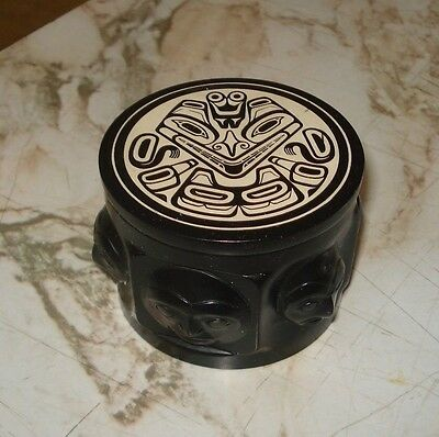Vintage Boma Canadian First Nations Resin Carved Spirit Capped Trinket Box