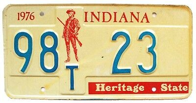 Indiana 1976 Bicentennial License Plate, Patriot Graphic, Low Number 23