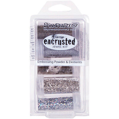Stampendous Encrusted Jewel Embossing Powder & Elements Silver EJK10
