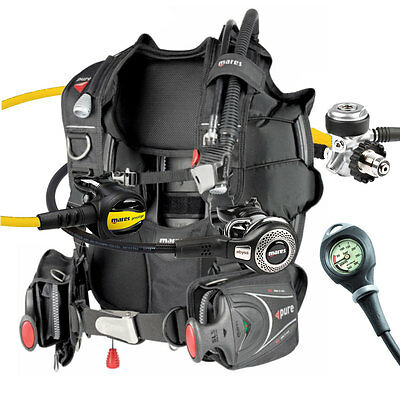 Diving Equipment Package Mares Bcd Pure Size Large Abyss Din Gauge