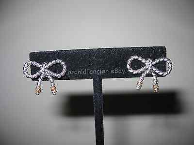TIFFANY STERLING SILVER BOW EARRINGS w/14K GOLD ACCENTS - GUARANTEED AUTHENTIC