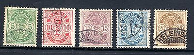 DENMARK STAMPS- Crest 5ore to 24ore,  1882 (#)
