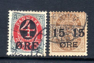 """DENMARK STAMPS- Earlier stamps overprinted with """"4"""" and """"15"""",  1902 (#)"""