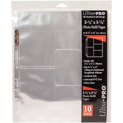 "Ultra Pro 8.5""x11"" Refill Pages 10/Pkg For 3.5""X5.25"" Photos 510107"
