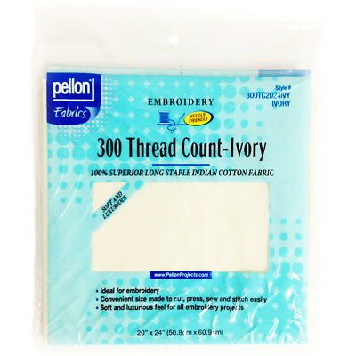 """300 Thread Count Cotton Fabric For Embroidery Ivory 20""""X24"""" 2024IVY"""