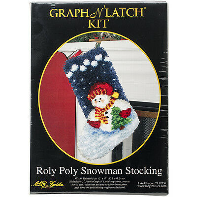 "Latch Hook Kit 12""X17"" Roly Poly Snowman Stocking 37783"