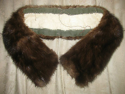 "Vintage Fake/faux? Fur Collar Off Vtg Coat 25"" Long-Crafts-Brown"