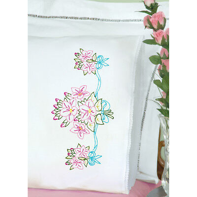Stamped Pillowcases W/White Lace Edge 2/Pkg Star Flower Bouquet 1800 577