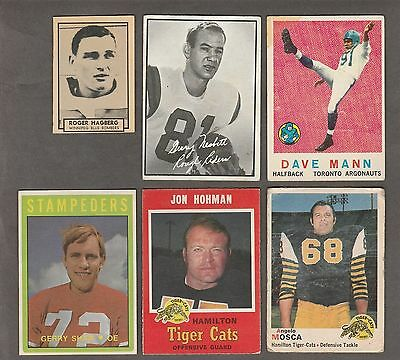 CFL VINTAGE CARD LOT - 1959 TO 1972 - 6 DIFFERENT CARDS inc ANGELO MOSCA