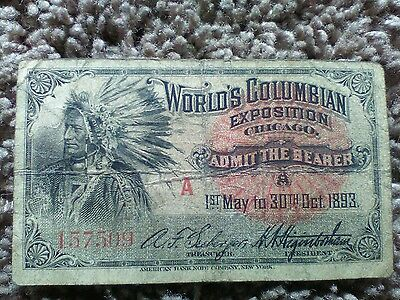Worlds Columbian Exposition Admission Ticket