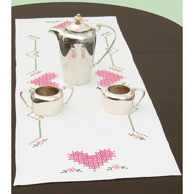 """Stamped Table Runner/Scarf 15""""X42"""" Chicken Scratch Hearts 560 514"""
