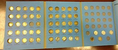 1946-1967 U.S. Roosevelt Dime Album, Nearly Complete, 51 Silver -RAINBOW TONED-