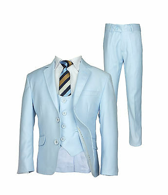 Premium Sky Blue Boys Suit, Slim Fit Prom Communion Wedding Page boy Kids Suits