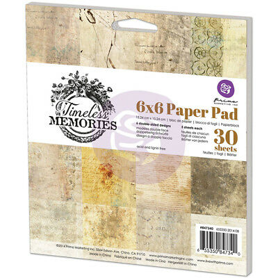 """Prima Marketing Double Sided Paper Pad 6""""x6"""" 30/Pkg Timeless Memories, 6 Designs"""