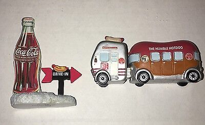 Coca-Cola Town Square Collection Issue 2004..Drive In Sign + The Humble Hotdog!!