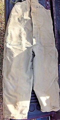 U.S. Navy Olive Drab Green Bib Overalls Deck Pants Medium Canvas Wool Lined