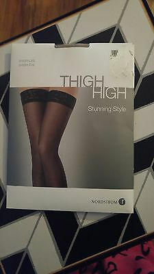 THIGH HIGH Lace Top Silicone Stockings Beige Sheer Nylon