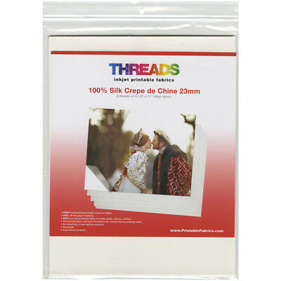 "THREADS Inkjet Printable Fabric Sheets 8.5""X11"" 6/Pkg 100% Silk Crepe de Chine 1"