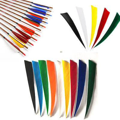 "30/60/100p 5"" /4"" Shield Shape Fletching Turkey Feather Right wing f Arrows DIY"