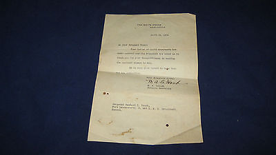 Original Watermarked White House Stationary from Marguerite LeHand Typed letter