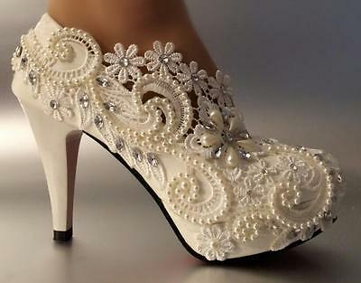 Women heel white ivory lace crystal pearls Wedding shoes pumps bride size 5-10.5