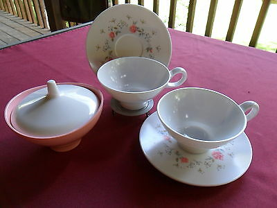 Boontonware Pink Roses Lot 2 Coffee Tea Cups Saucers Sugar Bowl with Lid