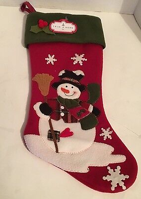 "Trim A Home Snowman Christmas Felt Stocking 18"" Vintage Looking"
