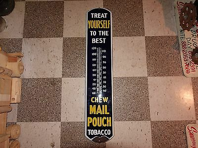 Vintage Porcelain Sign Treat Yourself Chew Mail Pouch Tobacco Thermometer