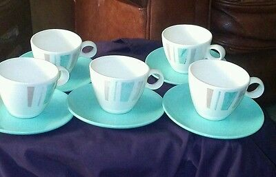 ANYTIME  Vernon Ware Set of Five Cups/Saucers  by Metlox Retro Kitch ****Mint***