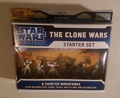 Star Wars Miniatures 2008 THE CLONE WARS STARTER SET with 6 Figures & Cards