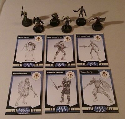 Star Wars Miniatures 2008 Clone Wars FRINGE FIGURES with Cards Set of 6