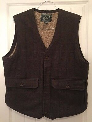 Men's Woolrich Olive Green Wool Vest Sherpa Lined Medium