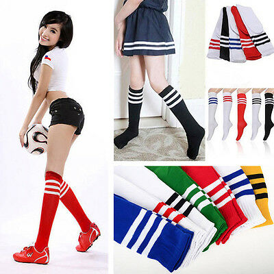 Unisex Men Women Striped Knee High Long Socks Sports Football Baseball Soccer
