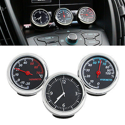 3Pcs Car Quartz Hygrometer Time Clock Temperature Thermometer Moisture Meter