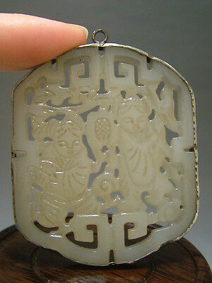 "Chinese Antique Celadon Nephrite jade Old Jade STATUES /Pendant ""Many children"""