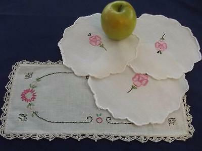 4 Vintage Homespun Linen Hand Embroidered Cottage Chic Doilies Pink Flowers Lace