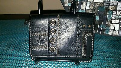 Women's Fossil Wallet Black Leather Grommits and Studs Bifold
