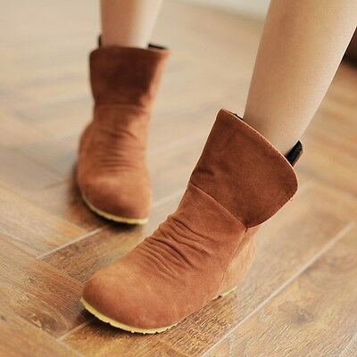 US Size 10.5 Women Suede Round Toe Hidden Heel Wedges Pull On Boots Shoes Yellow