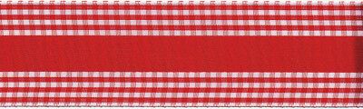 "Country Chic Ribbon 1 1/2""X9' Red & White Check 11277-1"