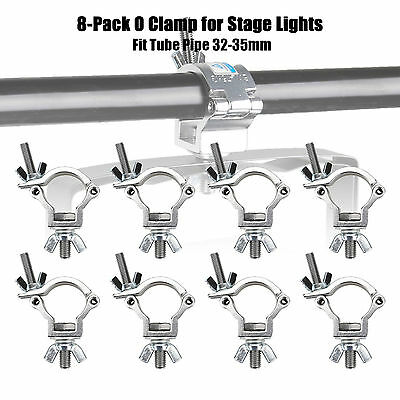 8 PCS O Clamp Hook Truss Mount LOAD 165lb For Par Can Stage Lights Pipe 32-35mm