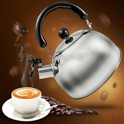 3L Stainless Steel Whistle Tea Kettle Water Pot Heat Assitant Handle Silver Home