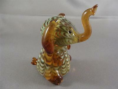 LENOX Blown Glass Pulled Feather ELEPHANT Amber, Green & White Pulled Feather