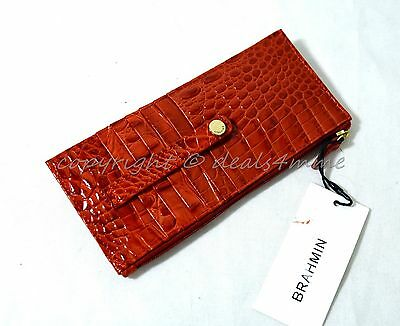 NWT Brahmin Credit Card Wallet/Credit Card Organizer in Cayenne Embossed Leather
