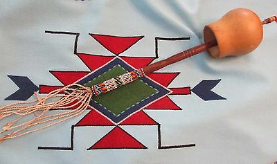 ANTIQUE PEYOTE  RATTLE southern plains with beautiful gourd stitch beading